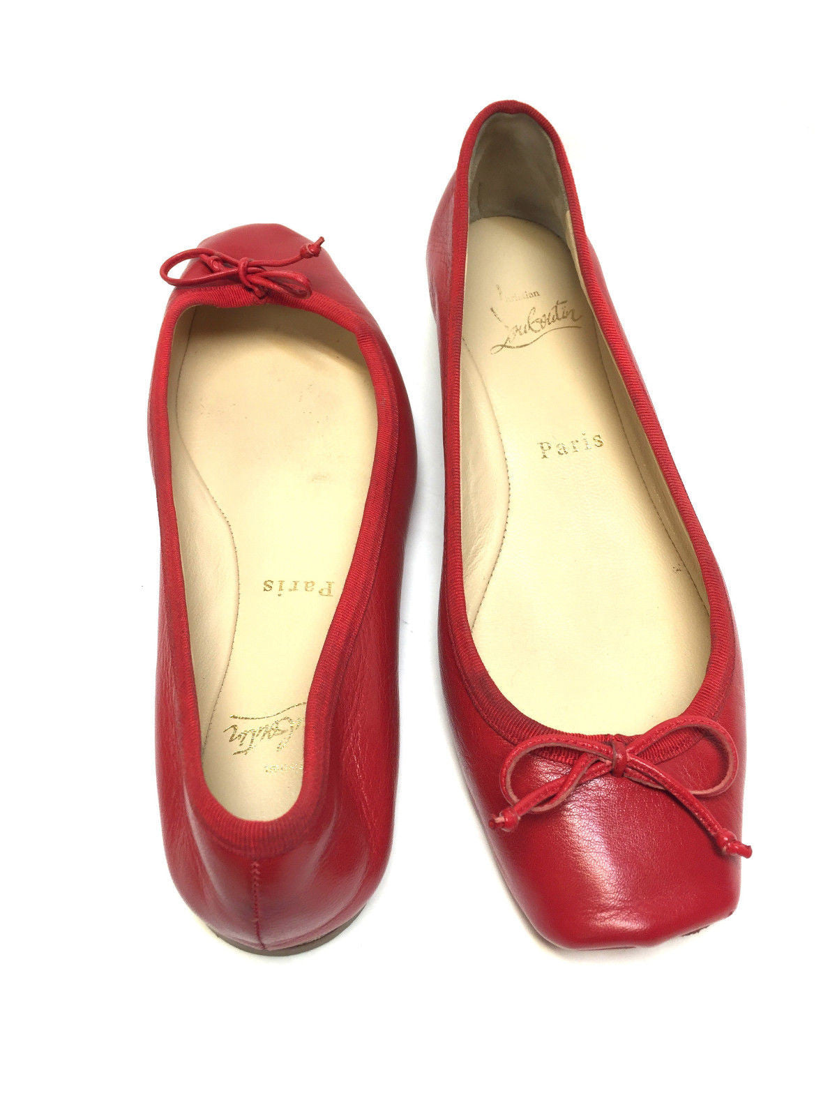 a74f304cdde CHRISTIAN LOUBOUTIN Red Leather Ballet Flats Shoes Size  37.5