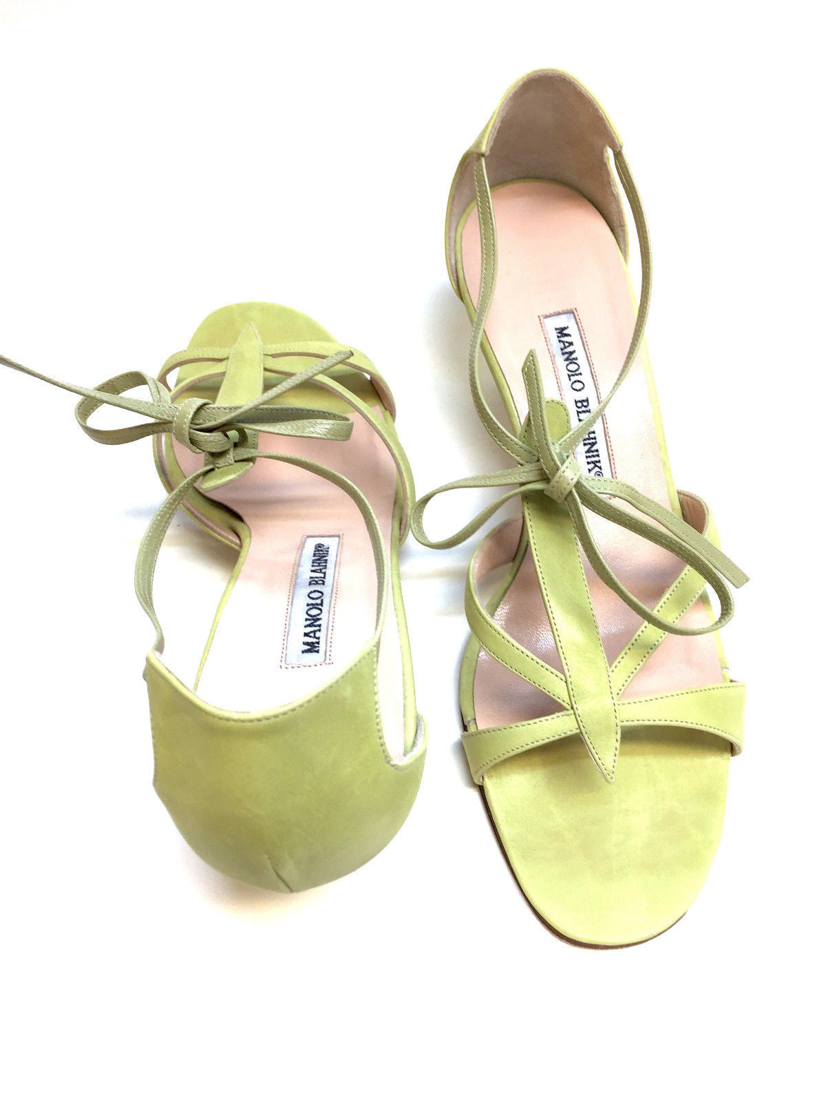 ae1f4e5052 ... bisbiz.com MANOLO BLAHNIK Lime-Green Leather Open-Toe T-Strap Kitten ...