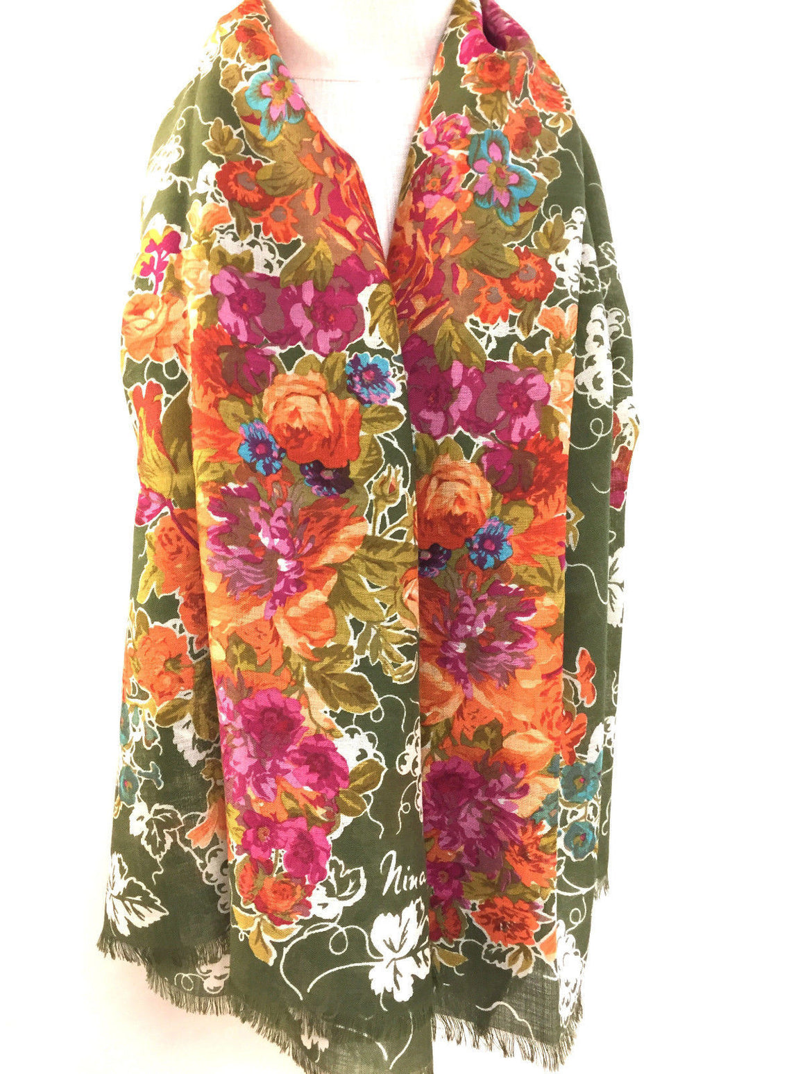 bisbiz.com NINA RICCI  Green/Multicolor Floral-Print Wool & Silk Shawl Scarf - Bis Luxury Resale