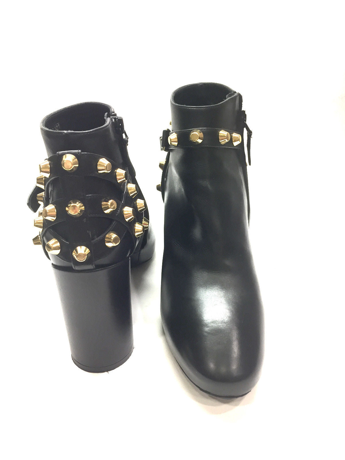 529cac8fade ... bisbiz.com BALENCIAGA Black Leather Gold-Stud Hi-Heel Ankle  Boots/Booties ...