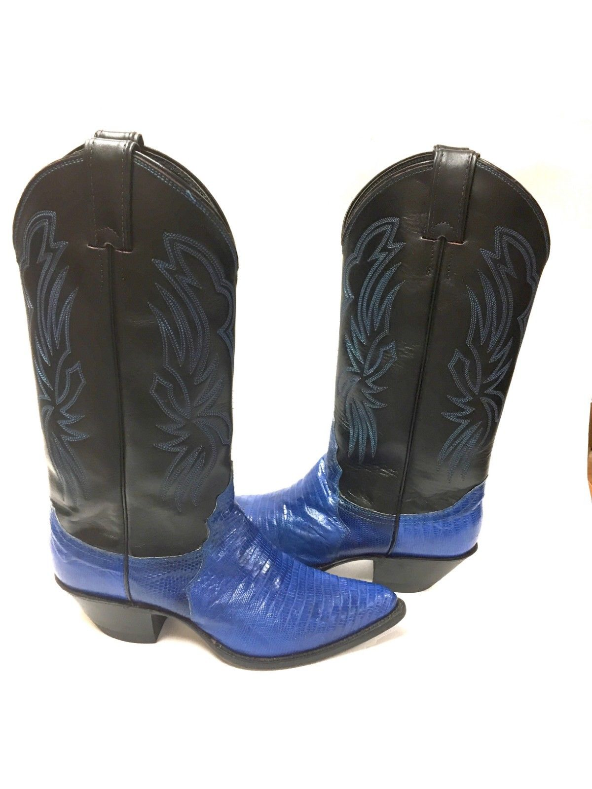 4a9e18cb7ee JUSTIN Black Leather Cobalt-Blue Lizard Skin Women Cowboy Pull-On Boots  Size: 7B