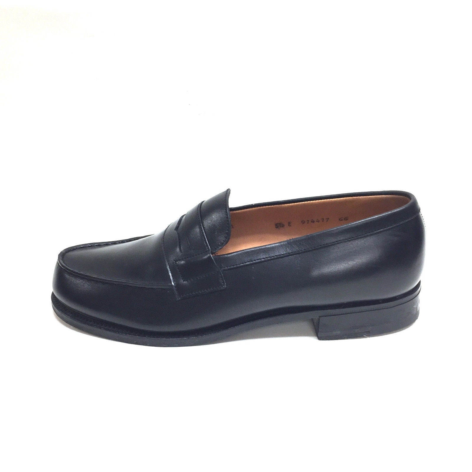 J. M. WESTON Black Leather Classic Penny Loafers Shoes ...