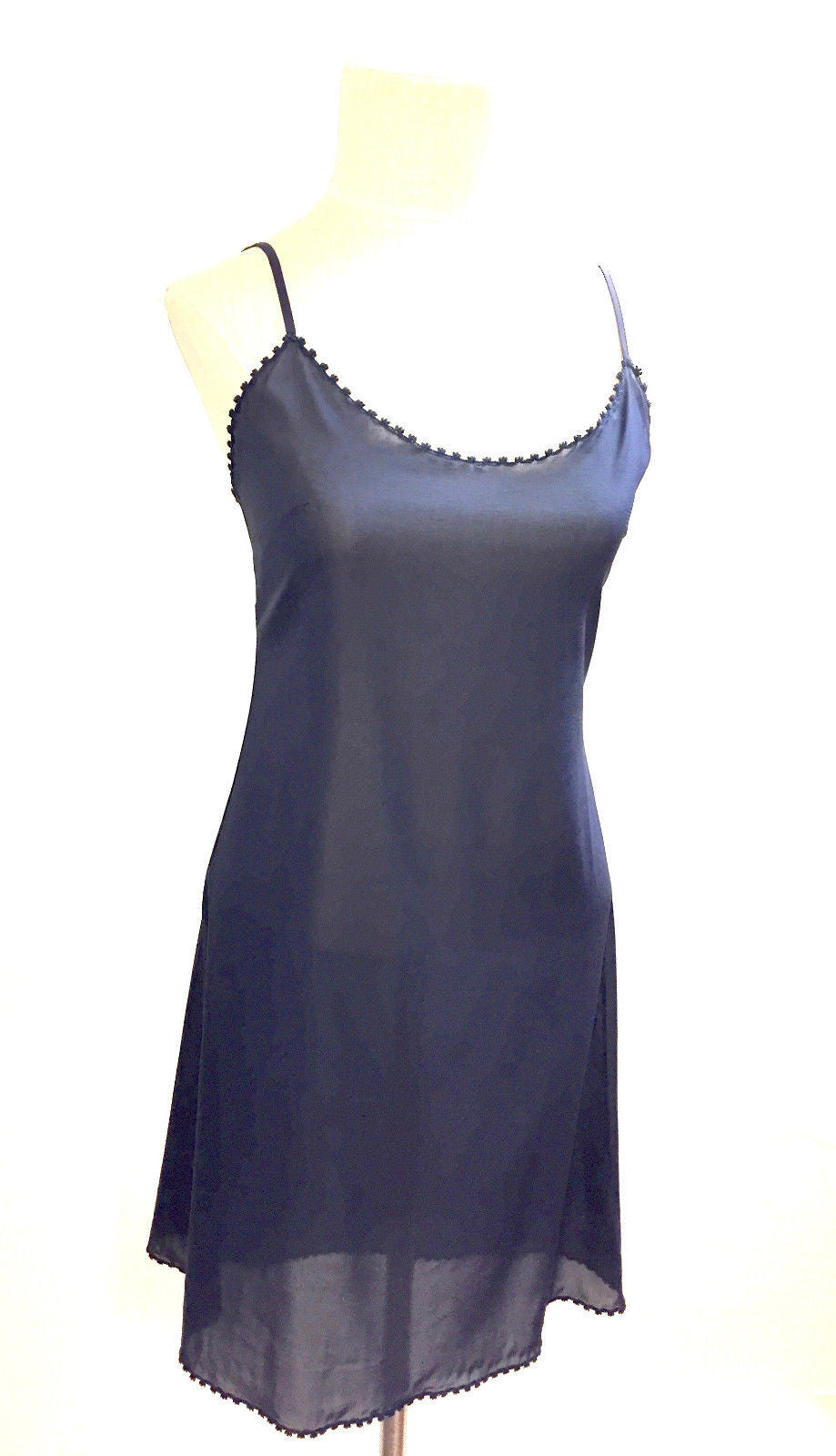 acfbea718d61 ... bisbiz.com CHANEL Orchid & Navy Sleeveless Knit Dress with Navy Silk  Under-Slip ...