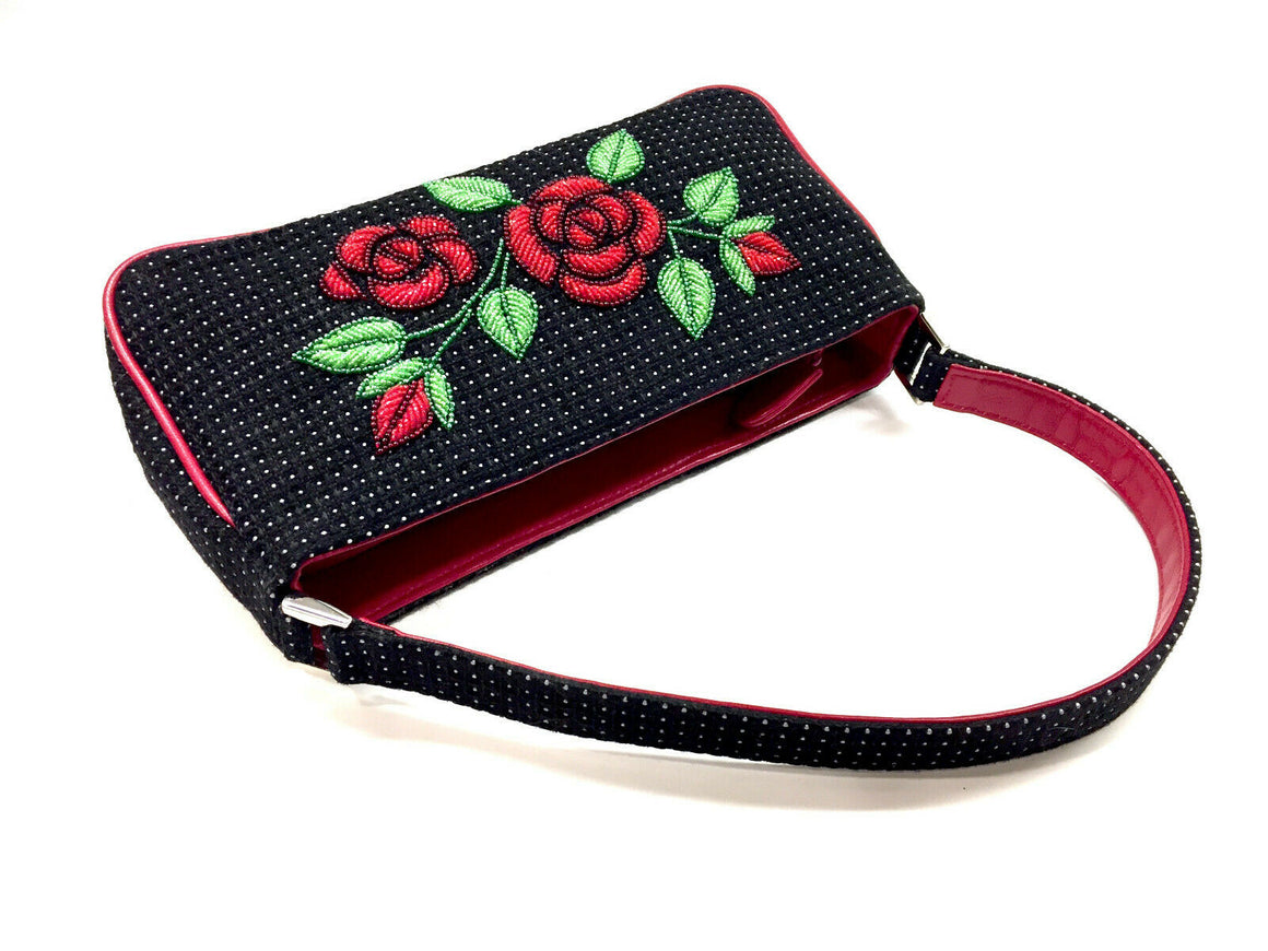 ISABELLA FIORE Black/White Fabric Red Leather Trim Bag w/Red Beaded Roses