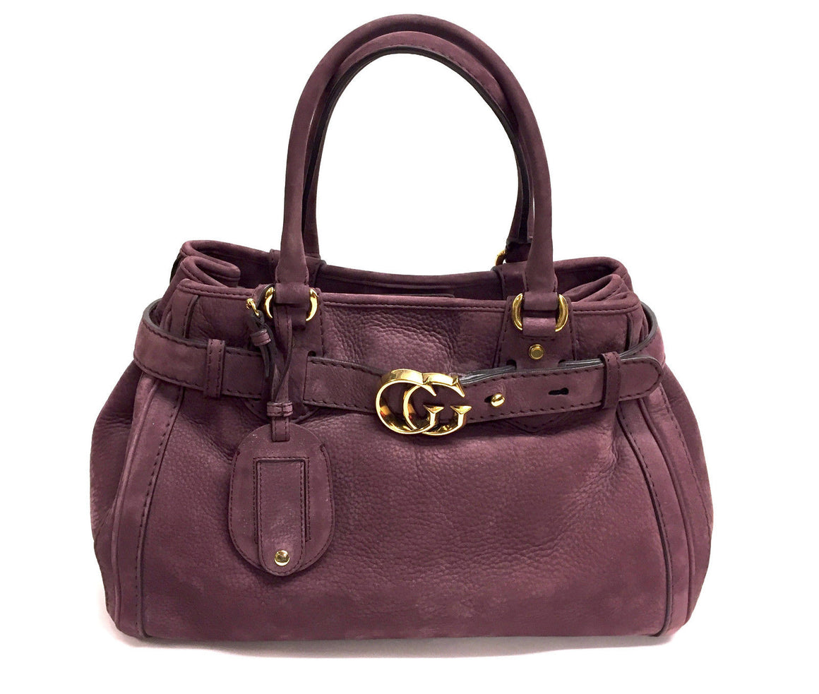 bisbiz.com GUCCI Light-Burgundy Pebbled Suede Gold Logo Buckled Strap Hand Bag Purse - Bis Luxury Resale