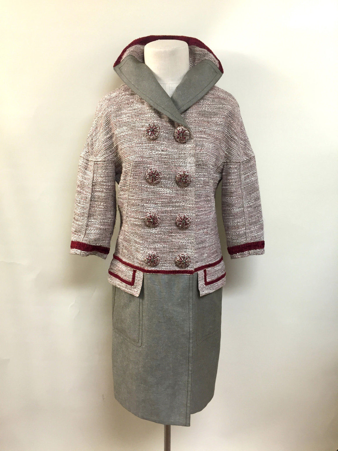 bisbiz.com LOUIS VUITTON Pink/Ivory/Olive Double-Breasted Dress Coat with Jeweled Buttons Size: FR 36 / US 4 - Bis Luxury Resale