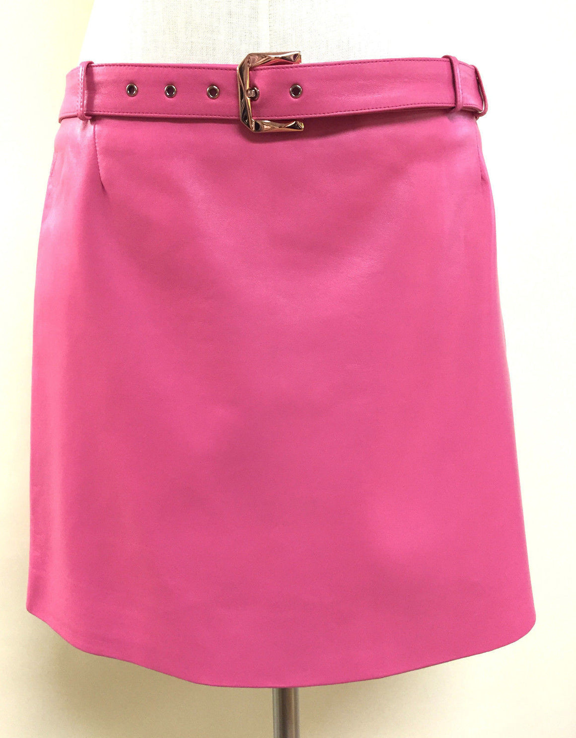 bisbiz.com VERSACE NEW Bubblegum Pink Leather A-Line Belted Skirt Size: IT40 / US6 - Bis Luxury Resale