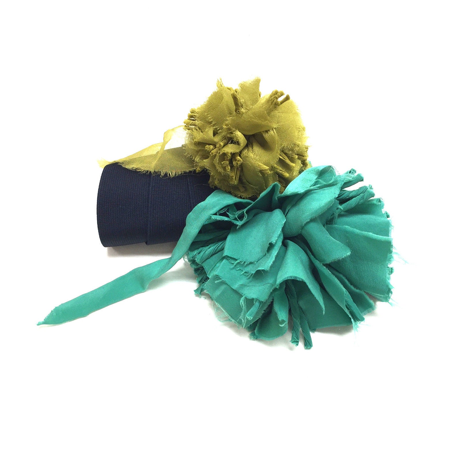 Lanvin Navy Elastic Emerald Green Olive Green Silk Flower Belt