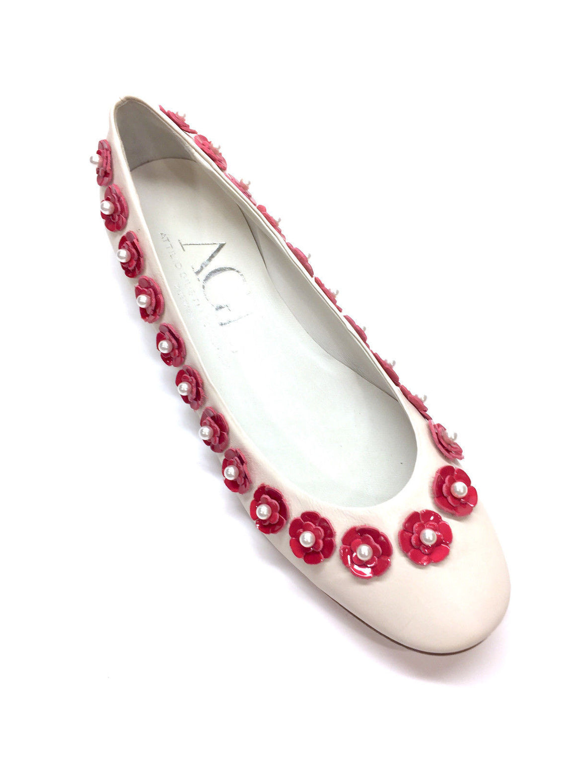 bisbiz.com ATTILIO GIUSTI LEOMBRUNI  White Leather Pink Flower & Pearl Trim Ballet Flats Shoes Size: 39.5/9.5 - Bis Luxury Resale
