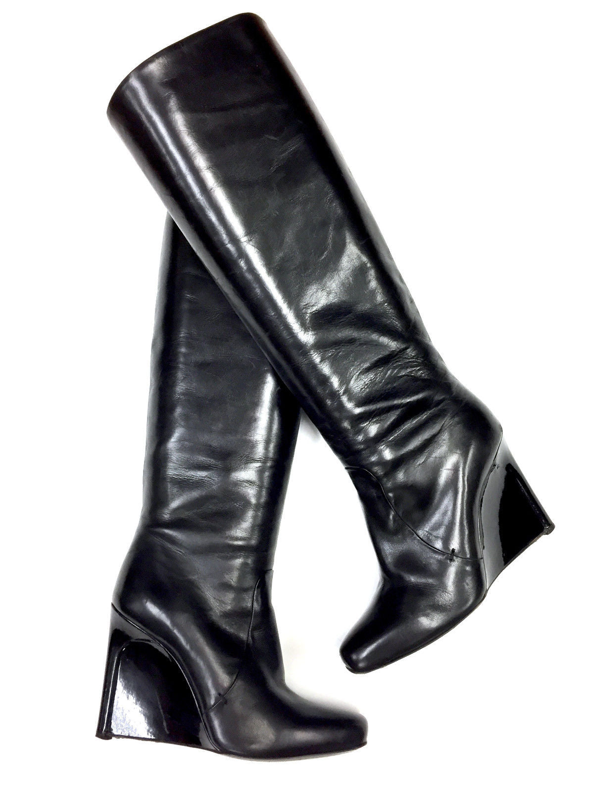 Calvin Klein Collection Black Leather Patent Leather Wedge