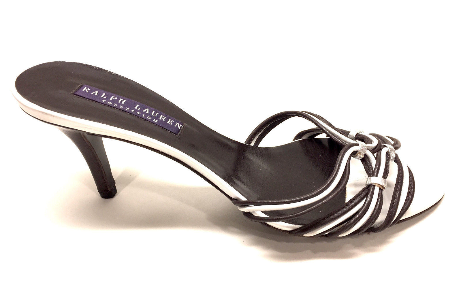 6e2ffc27d06a39 bisbiz.com RALPH LAUREN Purple Label Brown White Leather Strappy Heel  Sandals Mules Size ...