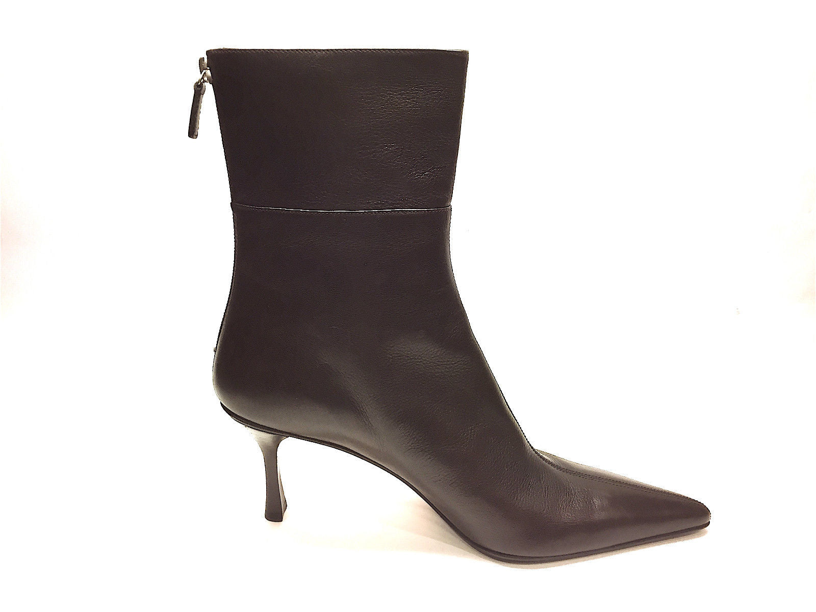 6fc0c3a73 bisbiz.com GUCCI Brown Leather Pointed-Toe Heel Ankle Boots Booties Size:  9.5 ...