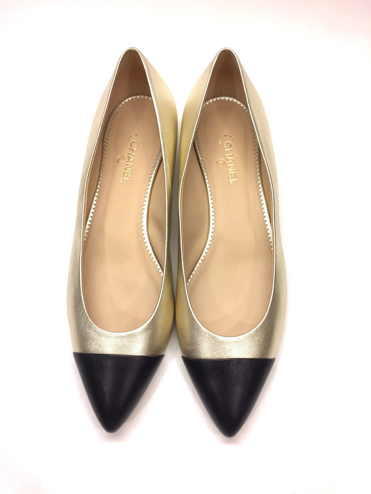3d8df75d18b ... bisbiz.com CHANEL Gold Leather Black Pointed Cap Toes Spectator Flats  Shoes Size IT .