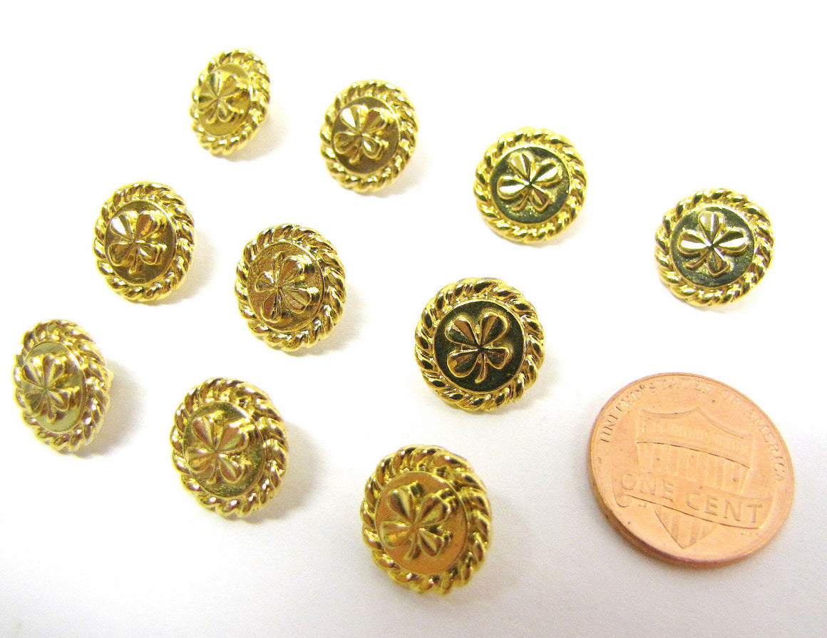 bisbiz.com CHANEL  Vintage  10 Goldtone Metal Signature Clover Blouse Sweater Buttons-Signed - Bis Luxury Resale