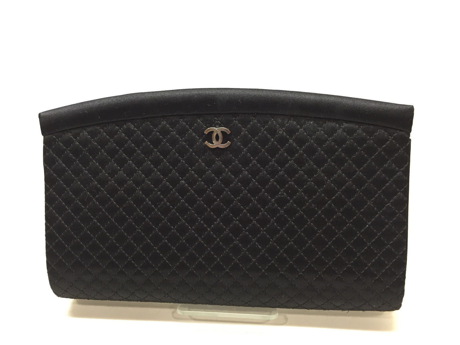 CHANEL Autumn '06 Black Micro-Quilted Silk Kisslock Frame Evening ... : chanel quilted clutch bag - Adamdwight.com