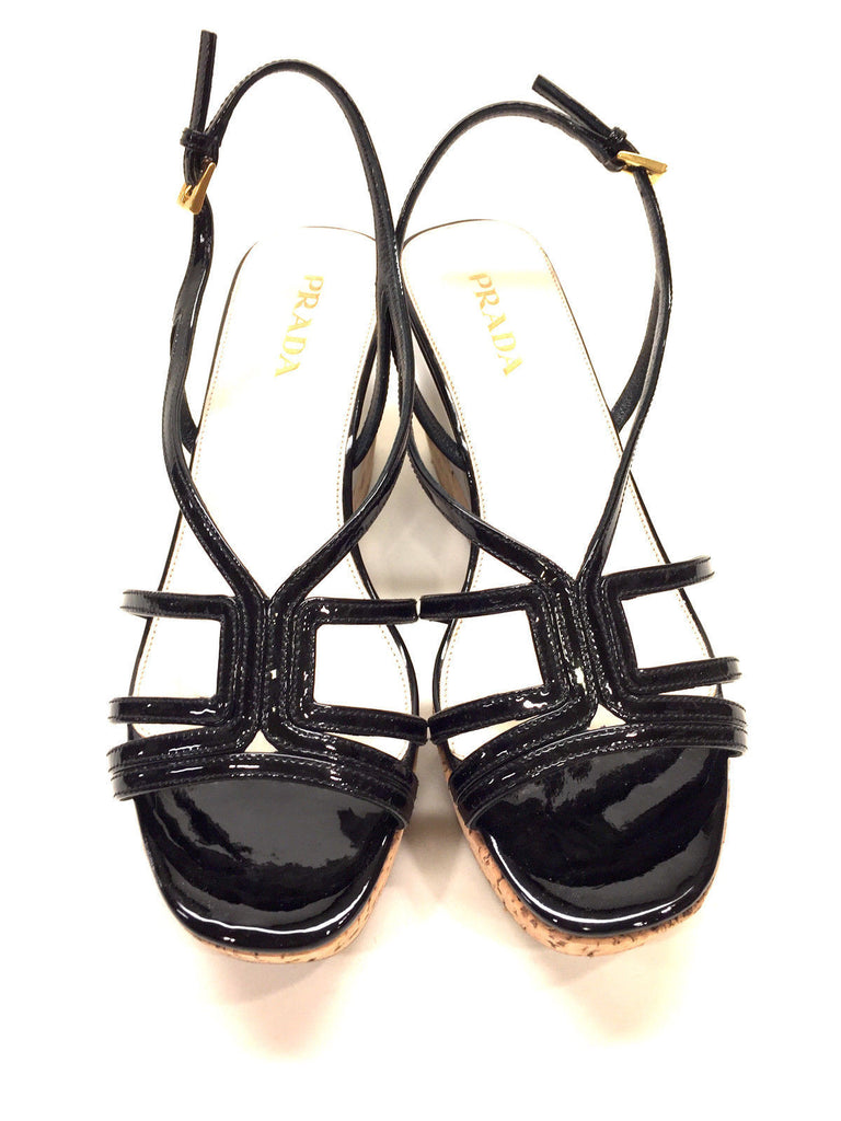 4b4774a9bf6 bisbiz.com PRADA Black Patent Leather Cork Platform Wedge-Heel Strappy  Sandals Mules Size ...