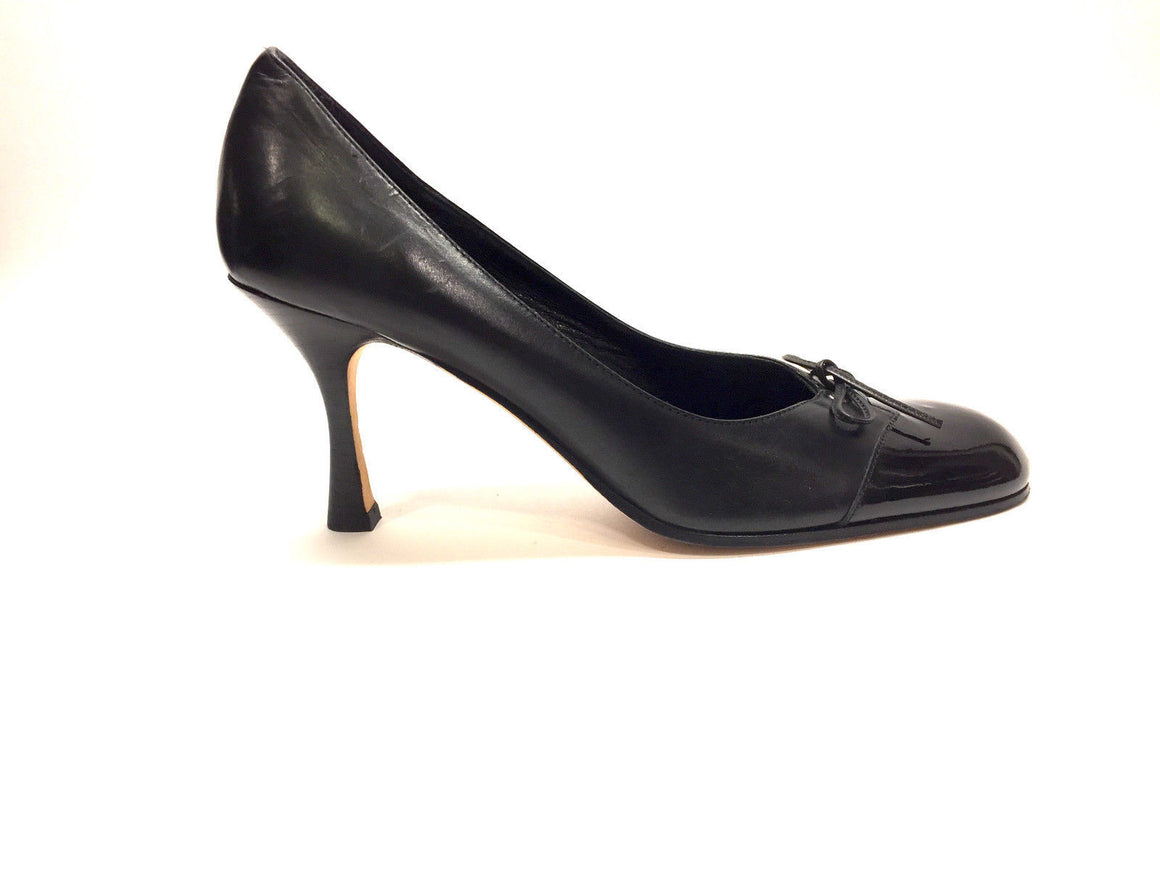 bisbiz.com ISAAC MIZRAHI Black Leather Black Patent Toe Ballet Bow Heel Pumps Size: 6B - Bis Luxury Resale