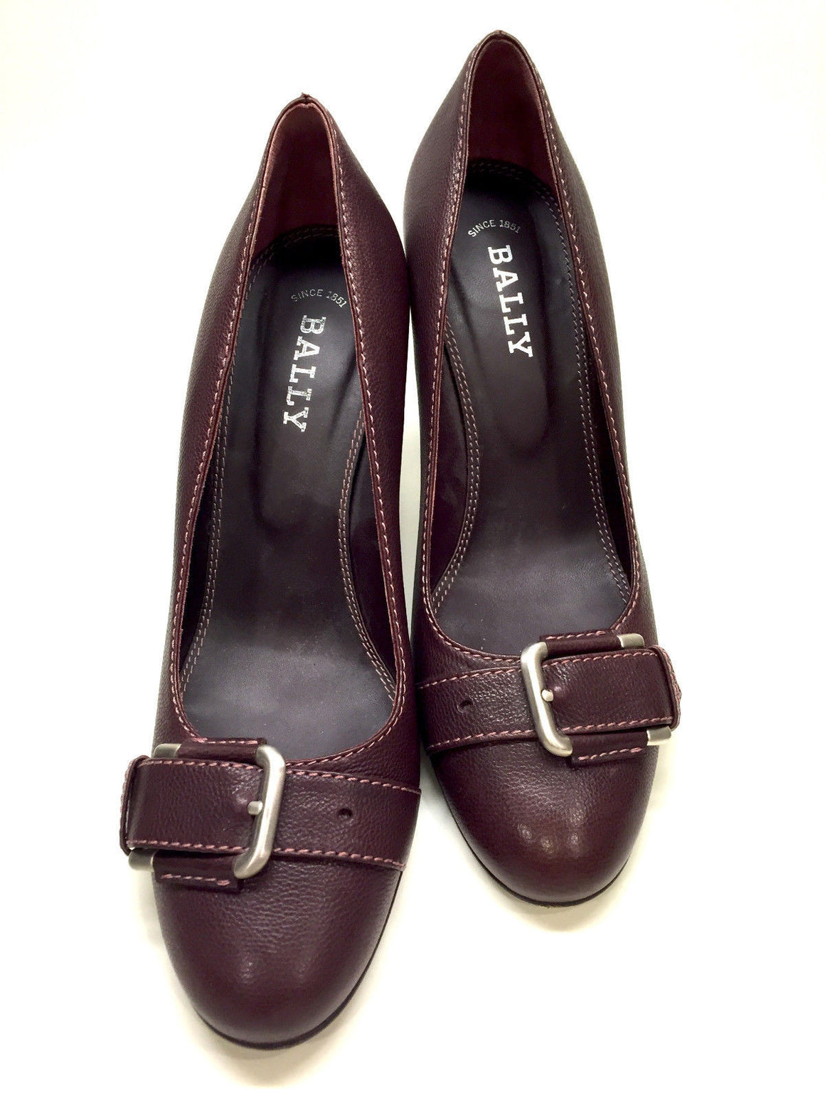 bisbiz.com BALLY  Burgundy Leather Silvertone Buckle  Heel Pumps Shoes  Size: EU 39 / US 8.5 - Bis Luxury Resale