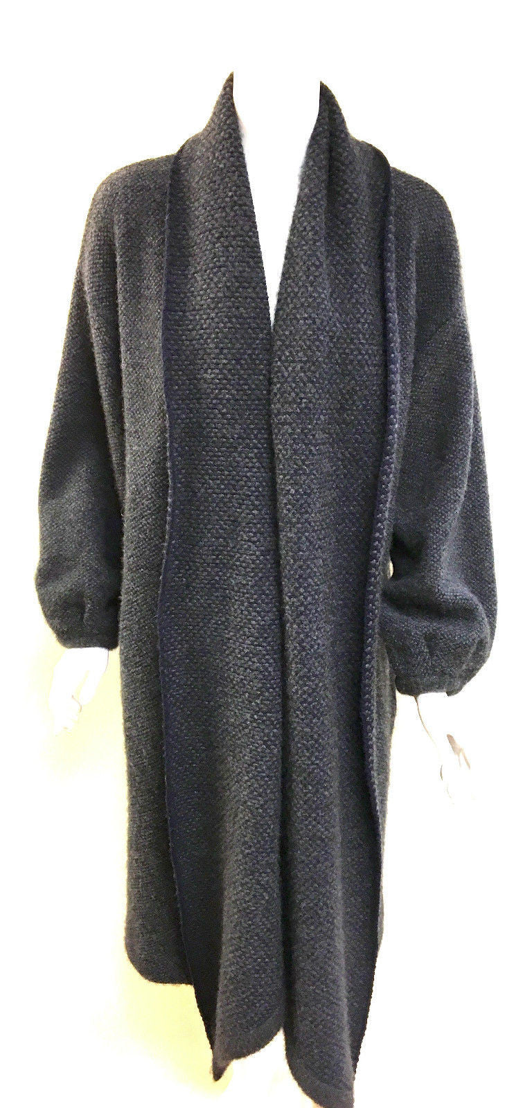 bisbiz.com HERMES Graphite-Gray/Navy Cashmere Knit Coat & Shawl  Size: S/M - Bis Luxury Resale