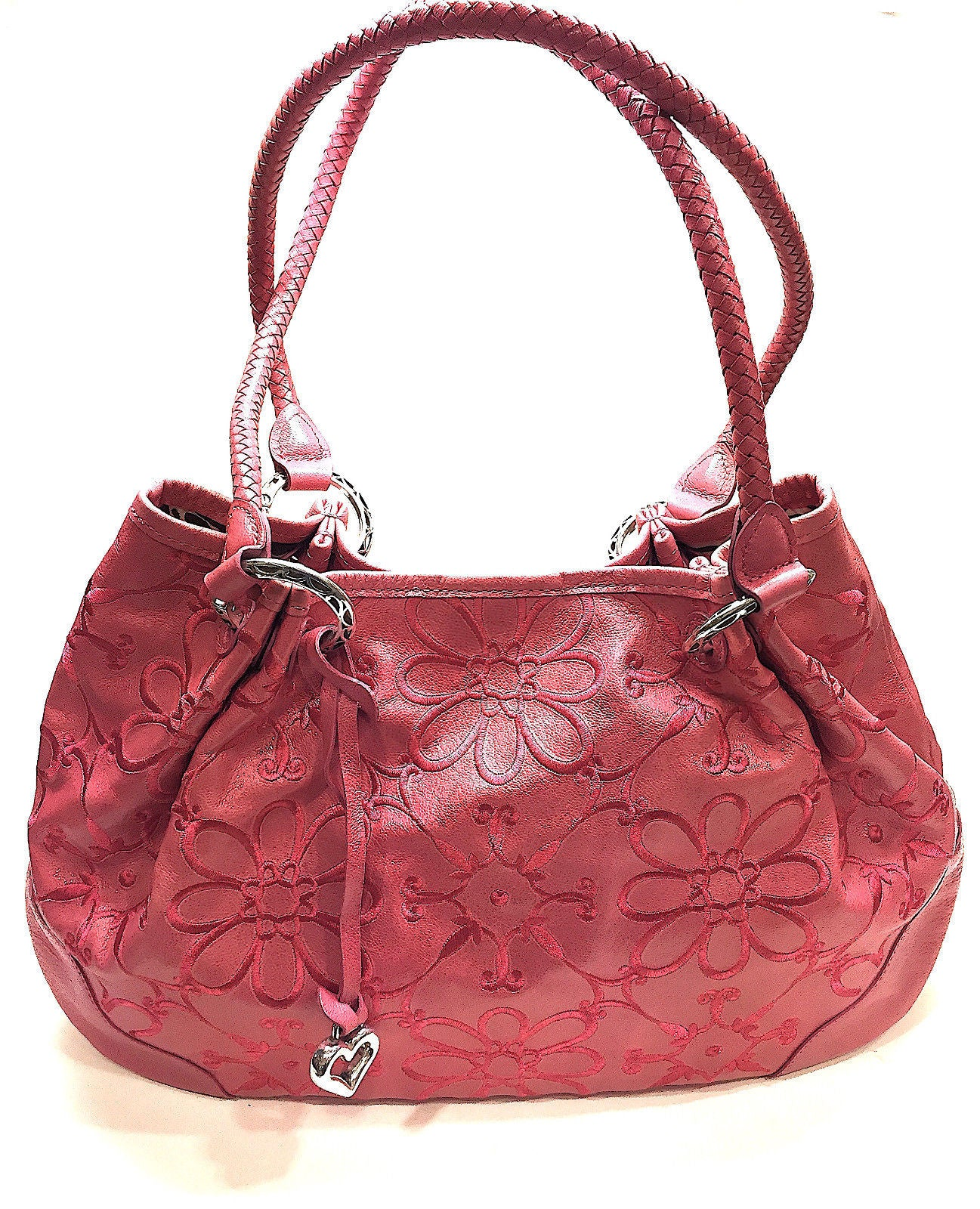 fb608c1eec10 ... Bag. bisbiz.com BRIGHTON Pink Floral-Embroidered Leather Tassel   Heart  Accent Shoulder Hand ...