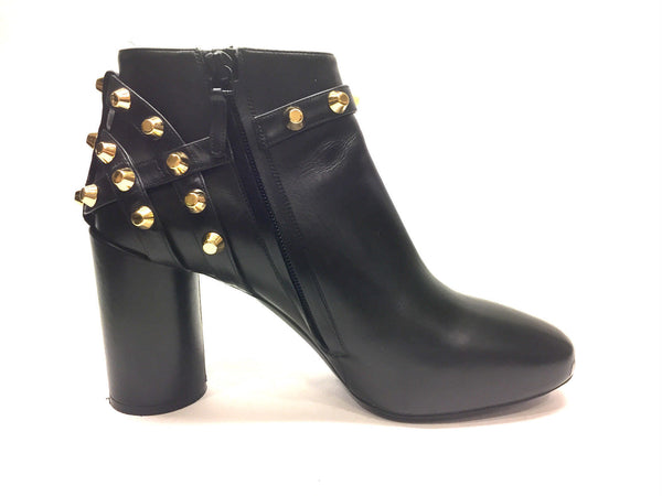 fccb0ab64c4 BALENCIAGA Black Leather Gold-Stud Hi-Heel Ankle Boots/Booties Size: E -  Bis Designer Resale