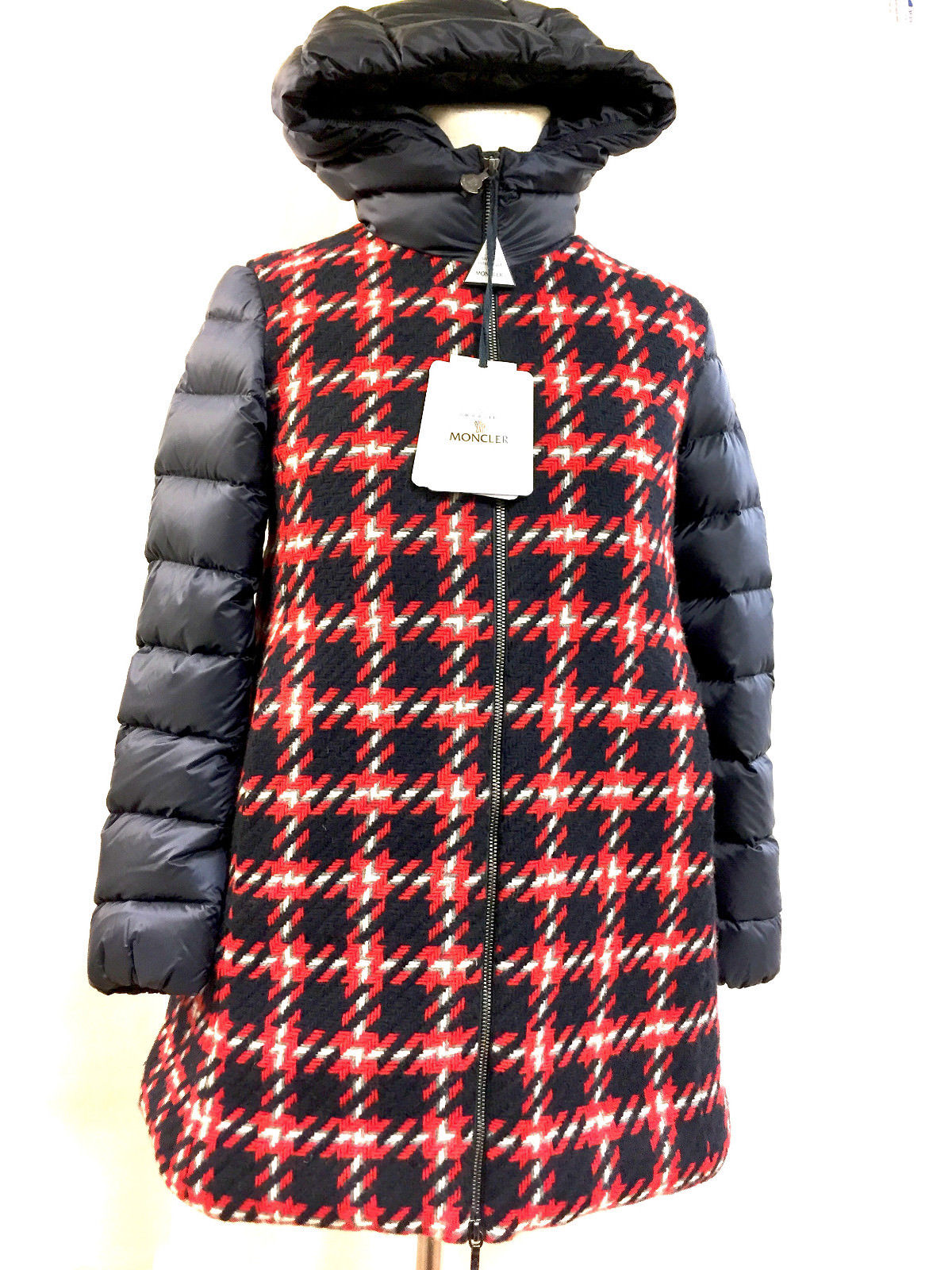 6fbffac13 MONCLER New with Tags Red White Blue Plaid Wool/Blue Down-Quilted Nylon  CURIOSITE Girls' Winter Coat Jacket Size: 12 Years