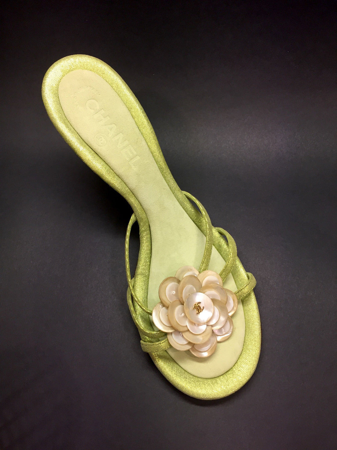 bisbiz.com CHANEL  Vintage - New Iridescent-Green Suede Mother-of-Pearl Camellia Heel Mules Sandals Size: 39.5 / 9.5 - Bis Luxury Resale