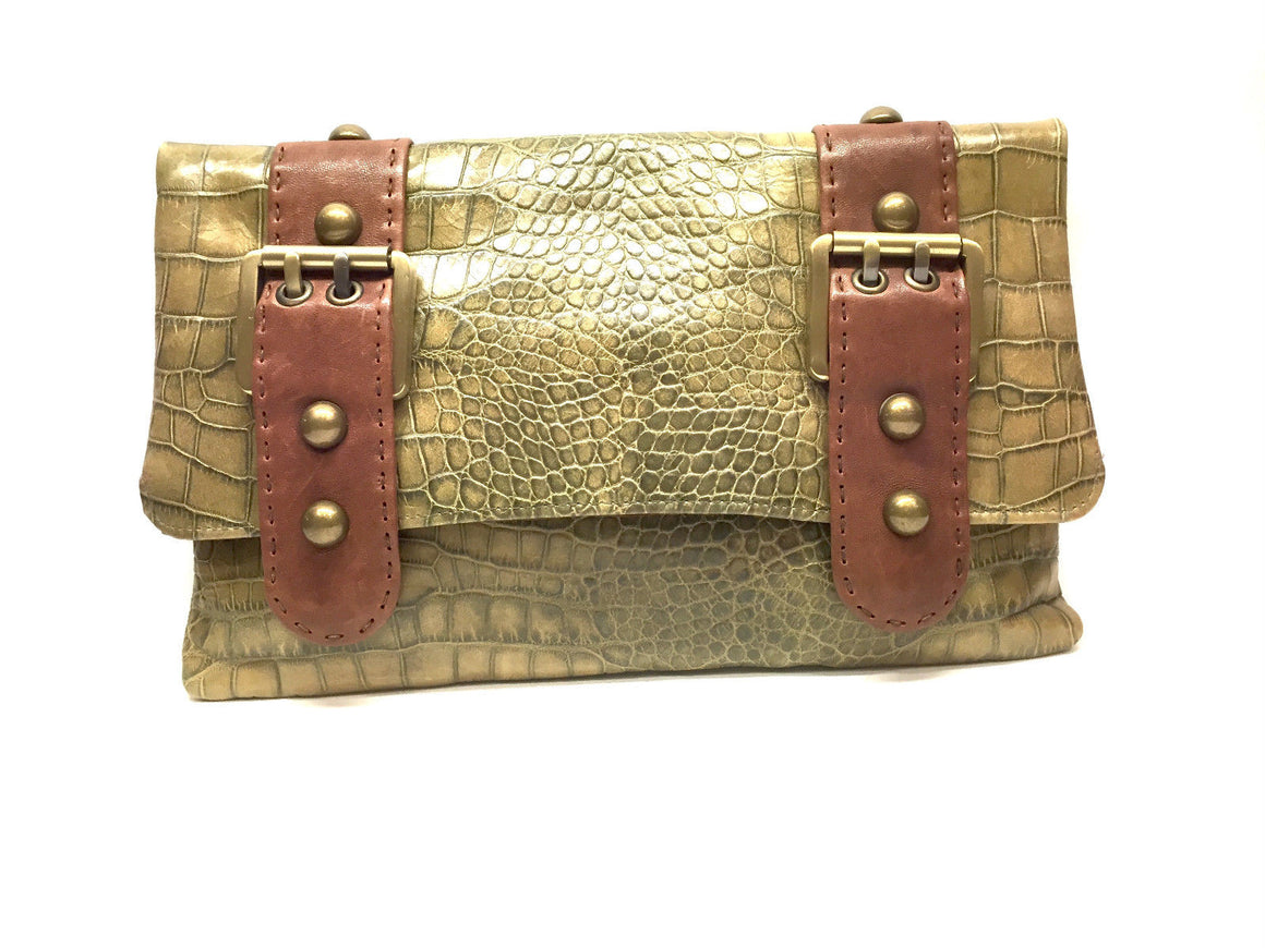 CARLA MANCINI Moss-Green Croc-Patterned Leather Fold-Over Clutch Bag Purse
