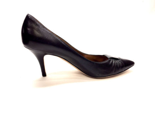 bisbiz.com ESCADA  Black Leather Pointed-Toe Ruched Vamps Heel Pumps  Size: 37 / 7 - Bis Luxury Resale