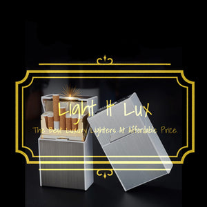 Portable Cigarette Case With Lighter 20pcs Cigarette Holder Waterproof Cigarette Box USB Rechargeable Electric Lighter Men Gifts