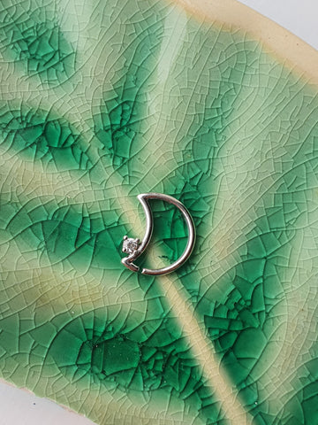 14kt Gold Moon Daith Ring