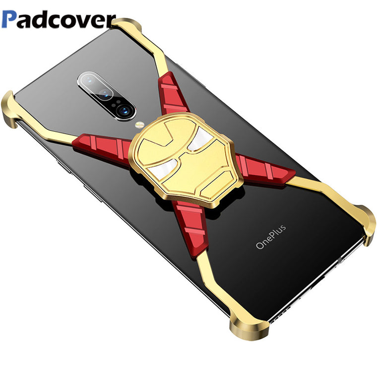 RIron Man Design Metal Case for Oneplus 7 Case Personality Metal Bumper Cover for Oneplus 7pro Anti-shock and shockproof Case