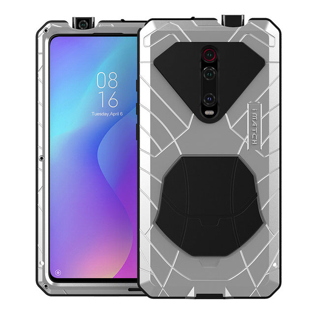 For Xiaomi Mi 9T Phone Case Hard Aluminum Metal Heavy Duty Protection Cover for Xiaomi 9 Pro with Tempered Glass Gift