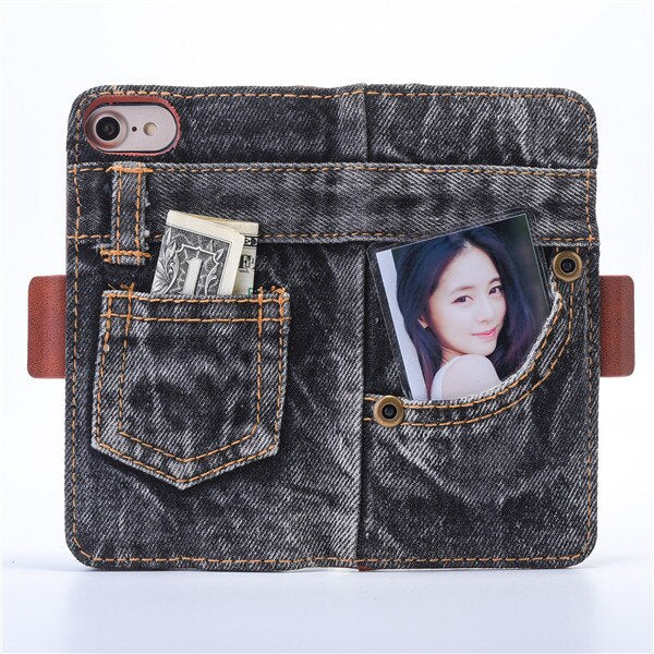 Luxury Jeans Leather Wallet Phone Case For iphone X 6 6S 7 8 Plus Flip Stand Card Slot Cover Bags For iphone 7 6 6s Plus Case