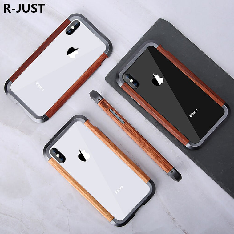 For iPhone XS Max Bumper Case Luxury Slim Natural Wood Hard Metal Hybrid Protective Armor Phone Case for iPhone X Wood Case Capa