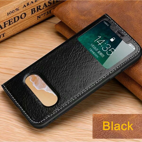 Genuine Leather Window Case for iphone X XS XR XS Max Real Leather Free Answer Cover for iphone 6 6s 7 8 plus Full Protect Skin