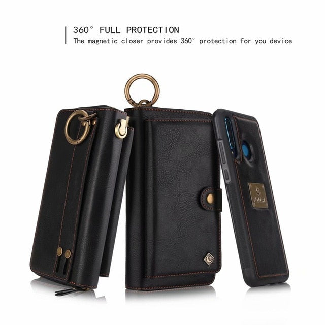 Purse Wristlet Phone Case For coque huawei p30 pro lite nova4e Funda Etui Luxury Leather Protective Wallet Phone Shell Cover bag