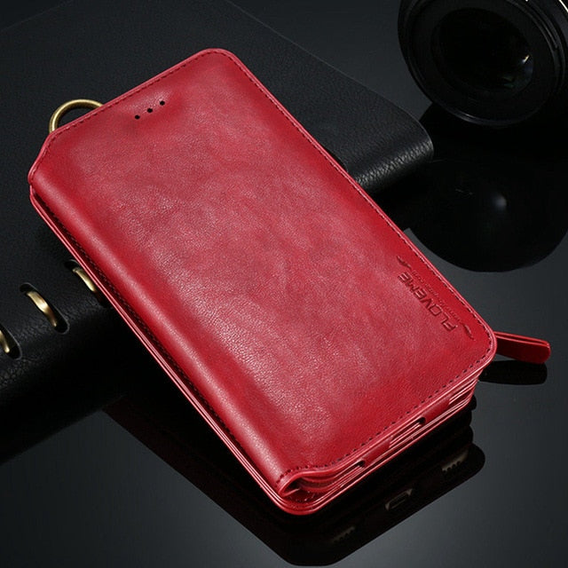 FLOVEME Classical Leather Wallet Case For iPhone 11 Pro Max XR X XS Max 8 7 6 6s Plus 5S Cases Retro Full Protective Pouch Cover