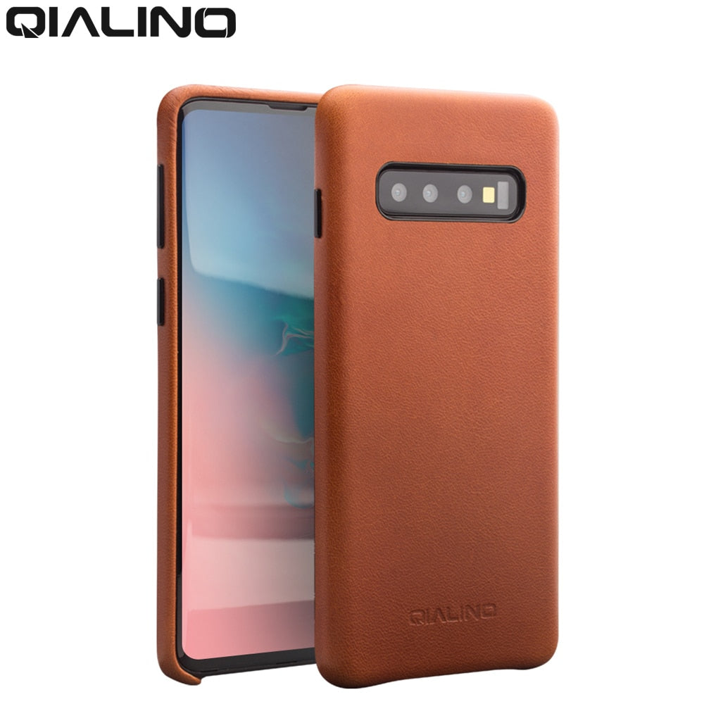 QIALINO Genuine Leather Bag Phone Case for Samsung note10+ S10+ Plus Fashion Luxury Back Cover for Samsung S10 for 6.1/6.5 inch