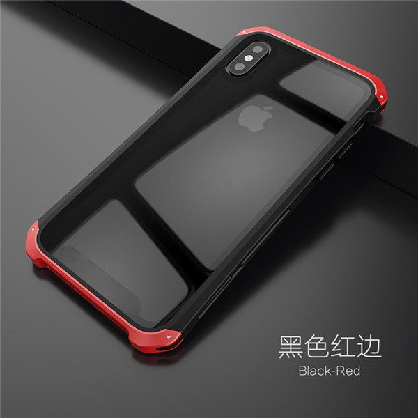 Soinmy Shockproof Metal Case for iPhone XR Case Armor Tempered Glass Back Cover For iPhone 6 7 8 Plus X XS XR XS Max Case Luxury