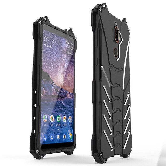 Metal Aluminum Bumper For Nokia 7 X5 Luxury Armor Shockproof Protect Phone Shell Case Cover For Nokia 7 Plus Back Cover