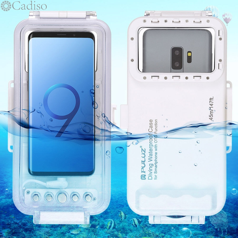 Cadiso 45m/147ft Waterproof Diving Case Housing Photo Video Taking Underwater Cover for Galaxy Huawei Xiaomi with Type-C Port