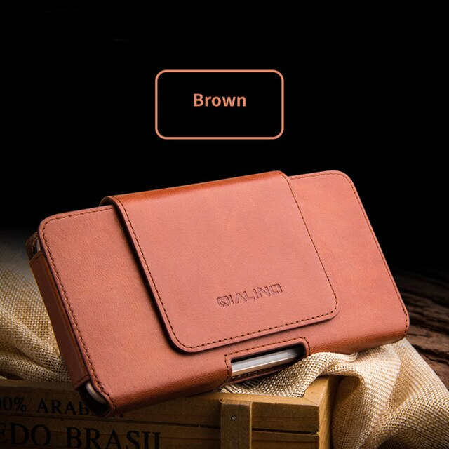 Universal Phone Pouch For iPhone 11 Pro Max Xs Max Xr X 8 7 6 6s Plus Waist Bags Belt Clip Handwork Genuine Leather Phone Cover