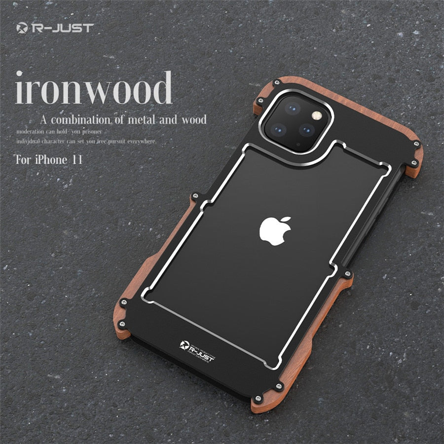 Wood Case for iPhone 11 Pro 11 Pro Max Luxury Hard Aluminum Metal Wood Bumper Protective Cover for iPhone Xr Xs 7 8 Plus Case
