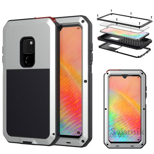 Tempered glass Heavy Duty Protection Doom armor Metal phone Case for Huawei Mate 20 Pro P30 Pro Cases Shockproof Dustproof Cover