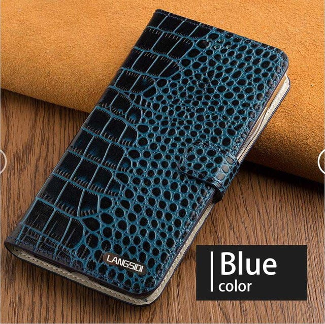Flip Phone Case For Samsung Galaxy A50 A70 a60 a40 S7 edge S8 S9 s10 Plus Note 10 j7 a8 a9 Case Luxury Crocodile Texture case