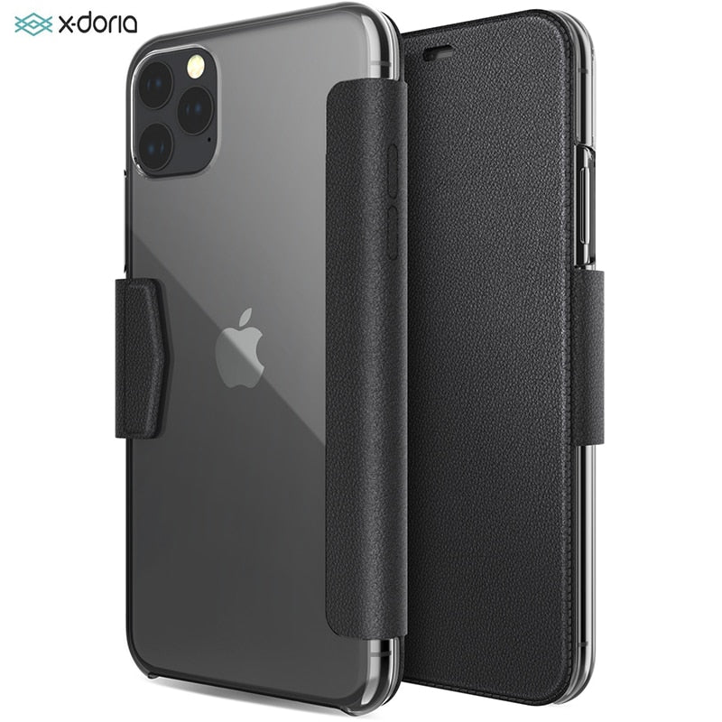 X-Doria Flip Wallet Case For iPhone 11 Pro Max Luxury PU Leather Engage Folio Phone Case For iPhone 11 Cover Built-in Card Slot