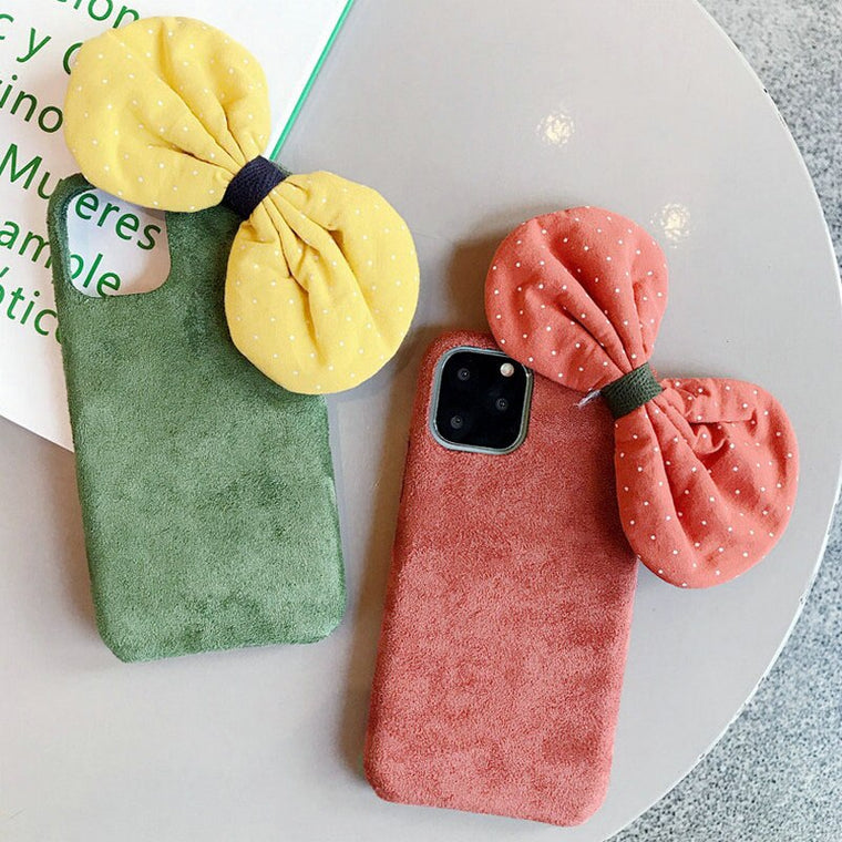 10pcs/lot Bow Velvet Warm Case For iPhone 11 Pro Max Winter Warm Plush Hard Phone Cover For iPhone XS XR XS MAX 6S 7 8 Plus