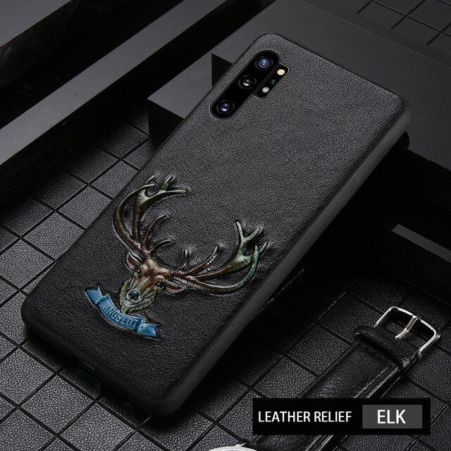 Genuine 3D Emboss Leather phone case for Samsung galaxy S20 Ultra S10plus S8 S9 Note 10 Pro 9 A50 A70 A30 A8 360 Full protective