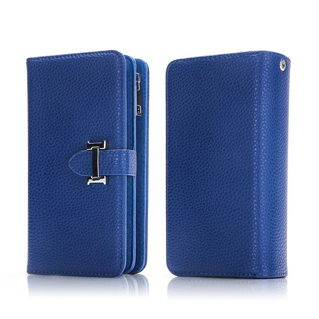 Detachable Zipper Flip Leather Wallet Case For iPhone XS MAX XR 6 6S 7 Plus 8 X 5 SE 11 Pro Max Multifunction Handbag Case Cover